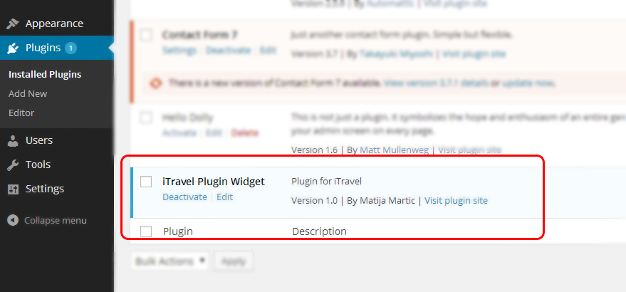 itravel plugin activation