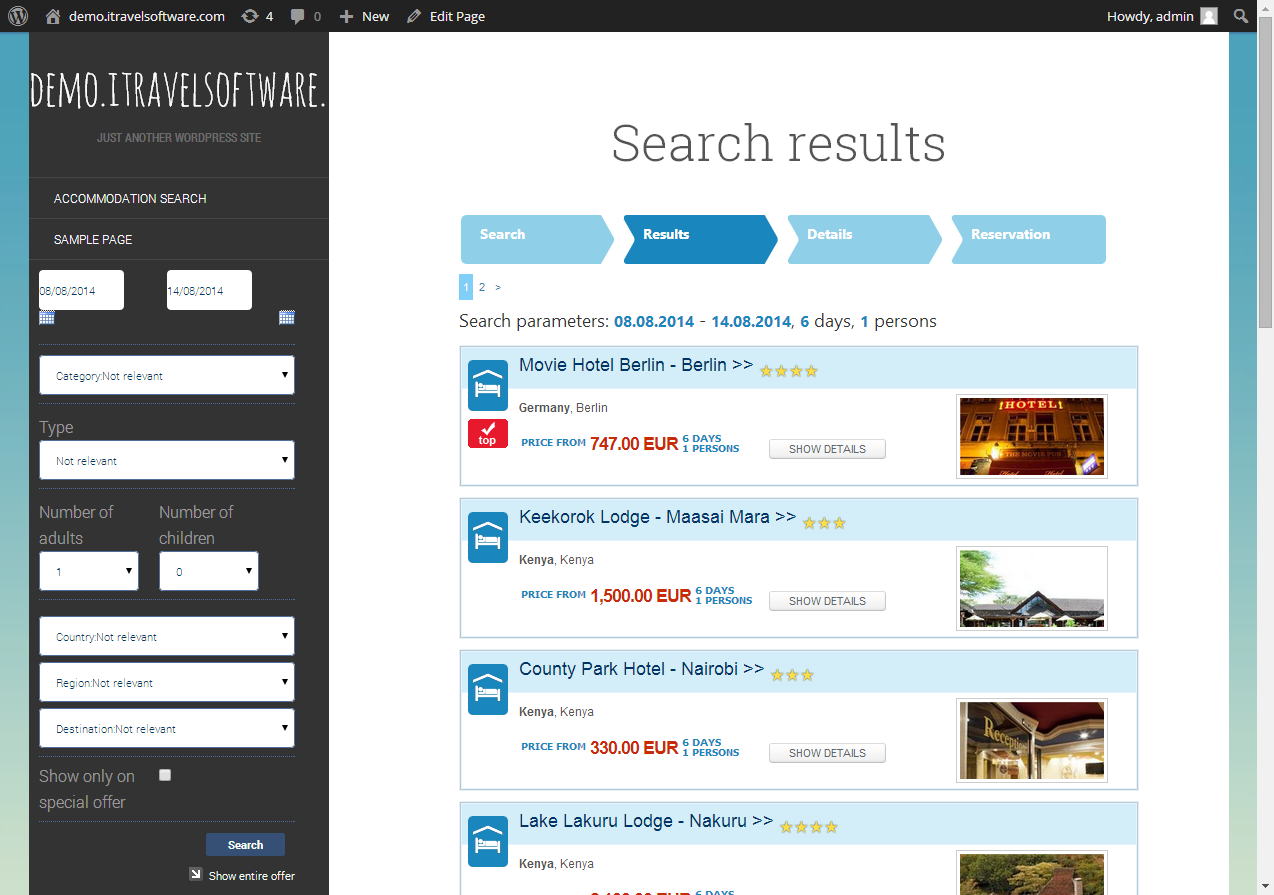 accommodation search results