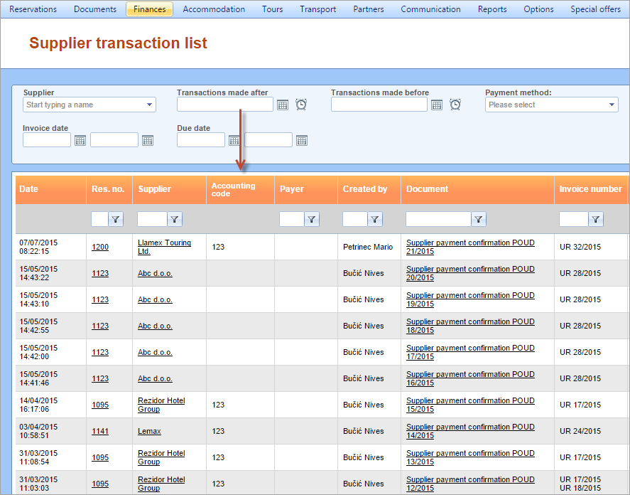 Accounting code column added to Transaction and Supplier ... - photo#47