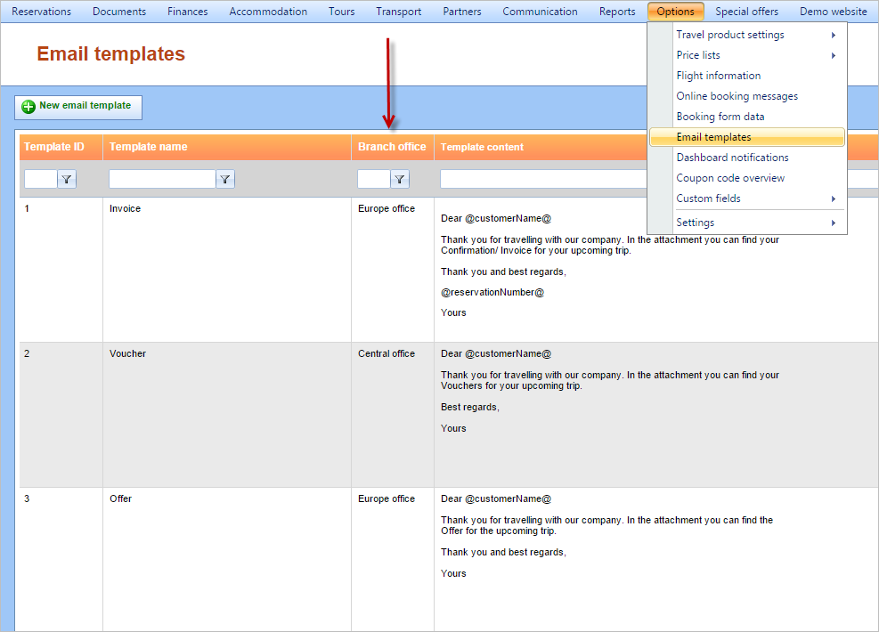 Branch office drop down list added to Email templates - iTravel ...