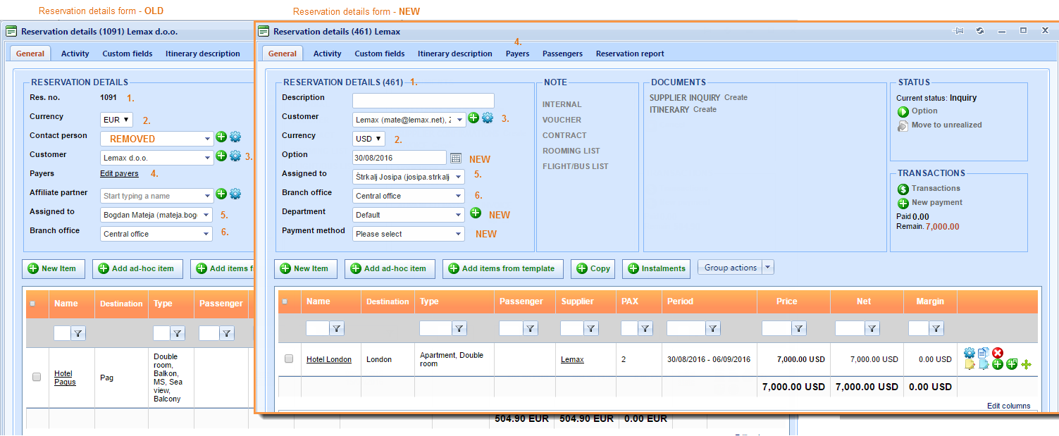 Reservations – New Copy button added and reservation form